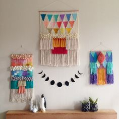 Woven wall hangings weavings by Maryanne Moodie www.maryannemoodie.com