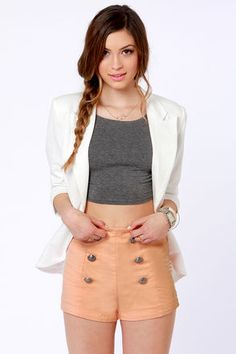 LuLu's LOST Lost Pinky Peach High-Waisted Shorts in Peach Pink.  $41.00