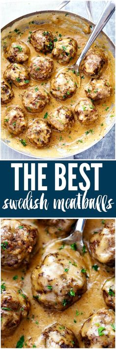 Making this for dinner! The Best Swedish Meatballs are smothered in the most amazing rich and creamy gravy. The meatballs are packed with such delicious flavor you will agree these are the BEST you have ever had! Beef Dishes, Food Dishes, Main Dishes, Meat Recipes, Cooking Recipes, Healthy Recipes, Recipies, Recipes Dinner, Hamburger Recipes