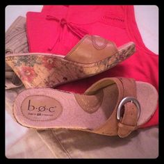 """b.o.c Born Concept leather sandals, size 7 Gorgeous tan leather sandals by b.o.c Born Concept, with floral faux cork on sides. Size 7, heel is 3 1/2"""" with 3/4"""" platform. Like new condition, super comfy and beautiful! Born Shoes Sandals"""