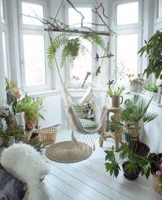 Home decor ideas, swing, greenery and plants. Scandinavian inspired interiors.