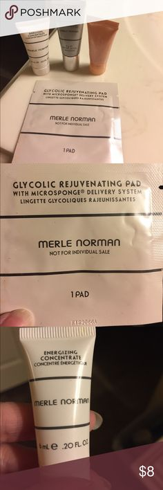 Merle Norman & (1) Clinique Sample This comes with four samples.  Never used.  Merle Norman Glycolic Rejuvenating Pad, Merle Norman Energizing Concentrate, Merle Norman Anti-Aging Complex Emulsion SPF 30, and Clinique All About Eye Serum. Merle Norman Makeup