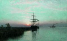 """dappledwithshadow: """" Ships at Sunset Lev Lagorio - 1885 Private collection Painting - oil on canvas """""""
