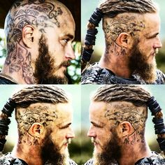 """""""#travisfimmel #tattoo #tattooartist #tattoos #puffjockeymakeup #puffjockey #thetravisfanvan #ragnarlothbrok #ragnar #vikings #vikingsfever #vikingshistory…"""""""
