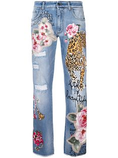 Dolce & Gabbana patch print straight jeans
