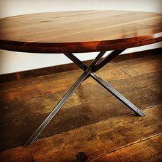 Our #walnut ellipse dinning #table on a #minimal #geometric #steel base is ready to blast off to its new home in Evergreen. #handmade #LVTD #modern #rustic #supportlocaldesign #denverdesign #denverart #furniture #functionalart #interiordesign #putsomewoodonit