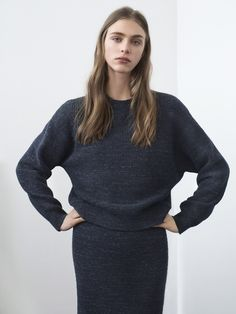 Filippa K AW15, Hedvig Palm in the melange knit skirt & sweater for a full monochrome blue look www.filippa-k.com/en