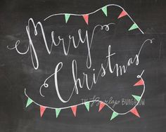 Christmas Decor -- Christmas Printable -- Merry Christmas -- Red and Green Christmas Bunting --Hand Lettered Chalkboard Art (8x10)