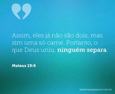 Assim, eles já não são dois, mas sim uma só carne. Portanto, o que Deus uniu, ninguém separa. (Mateus 19:6)