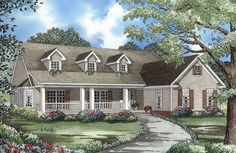 Country Style House Plan - 3 Beds 2.50 Baths 2131 Sq/Ft Plan #17-176