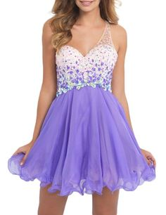 LovingDress Womens One Shoulder Homecoming Dress Beaded Bodice Short Prom Dress Size 2 US Lilac