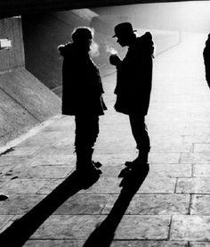 Stanley Kubrick and Malcolm McDowell on the set of A Clockwork Orange.