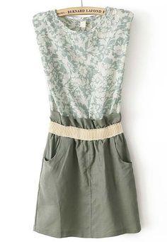 Green Sleeveless Floral Bandeau Pockets Dress