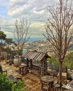 A typical Lebanese outdoor setting with a view in #Harissa By @migeal101 #WeAreLebanon #Lebanon