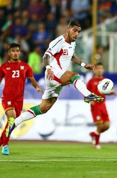 Ashkan Dejagah during AFC Asian Cup Qualifiers between Iran and Thailand at Azadi Stadium Tehran, Iran. on October 2013 Iran World Cup, Afc Asian Cup, Tehran Iran, October 15, Fifa, Thailand, Soccer, Football, Running
