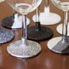 Spray paint the bottoms of glasses black and silver. 50 Shades Pure Romance party. http://pureromance.com/alixlove