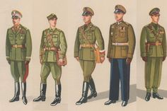 1953 Polish People's Army uniforms (from left to right): Generals' service uniform, officers' field uniform, officers' service uniform, officers' parade dress uniform, and officers' everyday uniform.