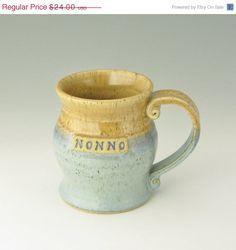 SALE for Charity  NONNO Coffee Mug Soup Mug by TwistedRiverClay, $16.80