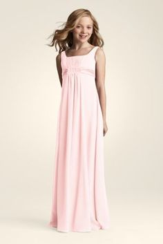 A sweet and chic look that will be perfect for any junior bridesmaid.  Sleeveless crinkle chiffon A-Line dress has a beaded bust and elastic back for better fit.  This dress will match back to many of the chiffon styles in the bridesmaids collection.  Fully lined. Imported polyester. Dry clean only.