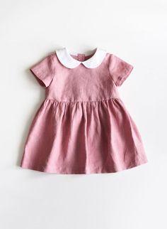 a65fd887a4708 Baby Linen Dress, Toddler Linen Dress, Baby Girl Clothes, Rose Pink Baby  Dress, Peter Pan Collar, Wh