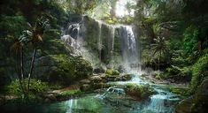 Video games far cry 3 game art Wallpaper Fantasy Art Landscapes, Fantasy Landscape, Fantasy Artwork, Landscape Art, 2k Wallpaper, Landscape Concept, Fantasy Forest, Les Cascades, Fantasy Places