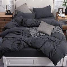Black Comforter, Comforter Cover, Duvet Sets, Dark Grey Bedding, Linen Duvet, Cotton Bedding, Cotton Fabric, Black Duvet Cover, 100 Cotton Duvet Covers