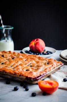 Blueberry Peach Slab Pie - Blogging Over Thyme