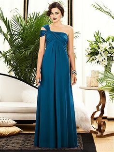 Full length one shoulder lux chiffon dress w/off the shoulder drape detail. Slight shirring at center front skirt. Empire waist. Sizes available: 00-30W, and 00-30W extra length. Style 2881