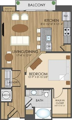 For those who don't want to go tiny, but still want to downsize, here are some apartment floor plans which could be easily converted to a small home. Use your imagination. #smallroomdesigntinyhouses