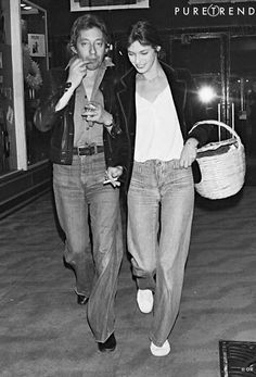 Jane Birkin--tshirt, velvet jacket, worn jeans, white sneakers