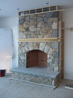 Rustic Outdoor Fireplace Design Ideas To Try Asap Fireplace Surround Kit, Fireplace Kits, Cottage Fireplace, Farmhouse Fireplace, Fireplace Remodel, Modern Fireplace, Fireplace Surrounds, Fireplace Mantels, Mantles