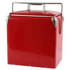 AmeriHome Retro Style Picnic Cooler, Red