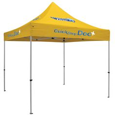 Premium 10' Tent (Full-Color Thermal Imprint, 4 Locations). 24 Hour Quick Ship! Lightweight and sturdy...This is the industry leader in portable shelters. Rust free, anodized aluminum frame with unique hexagon shaped legs. ABS Plastic truss joints and molded feet. Crank-up canopy for easy set-up. High quality, flame retardant, weather resistant, 400 denier polyester canopy. For details on how to order this item with your logo branded on it contact ww.fivetwentyfour.ca