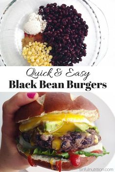 A Quick & Easy Bean Burger Recipe - Sinful Nutrition A Quick & Easy Bean Burger Recipe -- Made with only a few simple ingredients you probably already have in your pantry! Both gluten-free and vegan, and easily customizable. Veggie Recipes, Whole Food Recipes, Cooking Recipes, Healthy Recipes, Black Bean Veggie Burger Recipe Healthy, Vegan Gluten Free Burger Recipe, Simple Bean Burger Recipe, Black Bean And Corn Burger Recipe, Vegan Black Bean Burgers