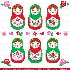 Clip Art Set - Matryoshka Nesting Dolls - Stacking Dolls - Christmas - Red and Green - 18 Print Ready Files - JPG and PNG Format - ID 207