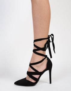 695afae49b6 To the Point Suede Heels Lace Heels