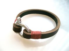 Deepbrown Leather Bracelet with steel D-ring clasp and red stitching. $19