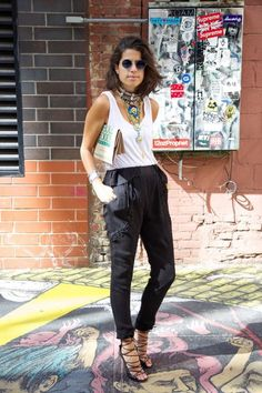 Leandre Medine in Delfina Delettrez and Dannijo necklaces, Alaia sandals, Harem pants by Iro Leandra Medine, Club Outfits, Summer Outfits, Love Fashion, Fashion Looks, London Fashion, Womens Fashion, Rock Chic, Summer Chic