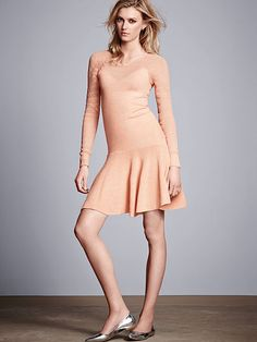Drop-waist Pointelle-sleeve Sweaterdress (T-V Wedding)