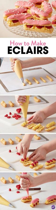 How to Make Eclairs - Learn how to make these tasty White Chocolate Raspberry Eclairs that are perfect for an Easter brunch or a springtime soiree are sure to impress. Top your éclairs with a fresh ra (Baking Sweet Brunch) Baking Recipes, Cake Recipes, Dessert Recipes, Lunch Recipes, Cupcakes, Cupcake Cakes, Just Desserts, Delicious Desserts, Easter Desserts