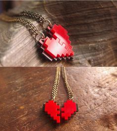 8-bit pixel heart necklace for your nerdy valentine