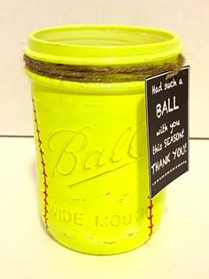 Softball Mason Jar, Softball Coach Gift, Hand Painted Softball Jar, Thank you Coach gift, Softball Team Gift, Hand Painted Mason Jar. Sports by MonisMasonCreations on Etsy https://www.etsy.com/listing/273170844/softball-mason-jar-softball-coach-gift