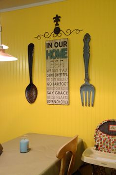 Cracker barrel decor. Yellow and turquoise kitchen. Country kitchen