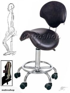 """Ergonomic Orthopaedic Posture Saddle Chair: This saddle stool with """"Removable"""" backrest gives seated comfort during long period of time, correct posture whilst retaining max mobility compare to kneeling chair.     For people working with their hand: computer operator, artist, dentist, surgeon, nurse, therapist etc."""