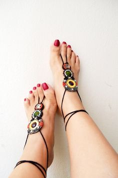 Unique Beaded barefoot sandles,native american. boho barefoot sandals, yoga, anklet hippie shoes,toe ring beaded foot jewelry