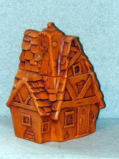 Vintage Twin Winton Thatched Cottage Sienna Orange Cookie Jar