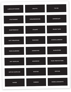 Free Download | Organization labels for your craft and office supplies