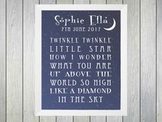 Twinkle Twinkle Baby - Framed Personalised Print to commerate the birth of a baby. Personalised with name of baby and date of birth. Also features an excerpt from the famous lullaby Twinkle Twinkle. Suitable for a boy or girl.
