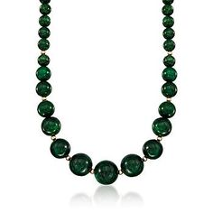 Green is the new neutral :-) Ross-Simons - 300.00 ct. t.w. Graduated Emerald Bead Necklace In 14kt Yellow Gold - #773153