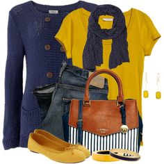 Navy Blue & Mustard, created by brendariley-1 on Polyvore